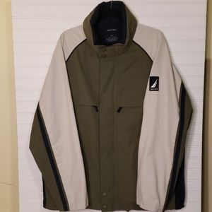 Nautica Men's Dark Green, Cream, and Navy Jacket
